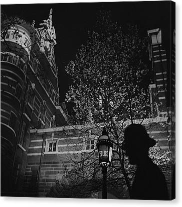 Police Officer Canvas Print - Silhouette Of A British Policeman At Night by Roger Schall