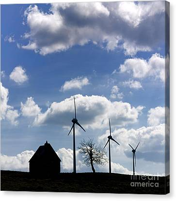 Silhouette Of A Farm And A Tree Canvas Print by Bernard Jaubert