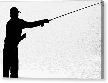 Silhouette Of A Fisherman Holding A Fishing Pole Bw Canvas Print by James BO  Insogna