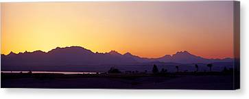 Silhouette Of A Golf Course With Sinai Canvas Print