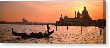 Silhouette Of A Gondola In A Canal Canvas Print by Panoramic Images