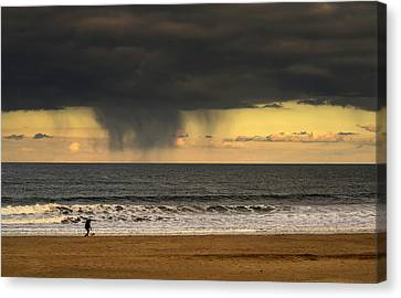 Silhouette Of A Person And Dog Walking Canvas Print