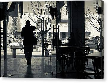 Silhouette Of A Person At Cafe Canvas Print