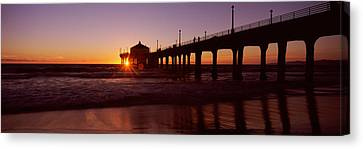 Silhouette Of A Pier, Manhattan Beach Canvas Print by Panoramic Images