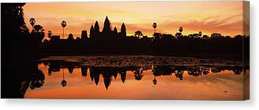 Silhouette Of A Temple, Angkor Wat Canvas Print