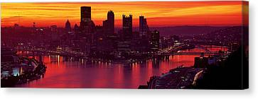 Silhouette Of Buildings At Dawn, Three Canvas Print by Panoramic Images