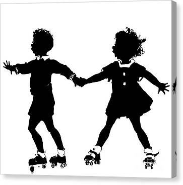 Silhouette Of Children Rollerskating Canvas Print