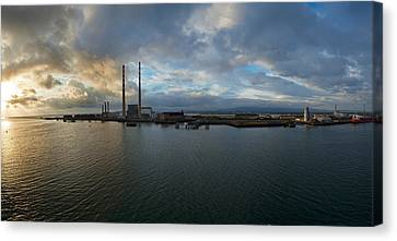 Silhouette Of Chimneys Of The Poolbeg Canvas Print by Panoramic Images