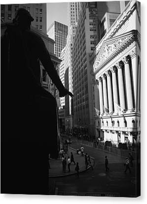 Exchange Place Canvas Print - Silhouette Of George Washington Statue by Panoramic Images