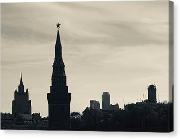 Silhouette Of Kremlin Towers, Moscow Canvas Print