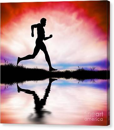 Silhouette Of Man Running At Sunset Canvas Print by Michal Bednarek