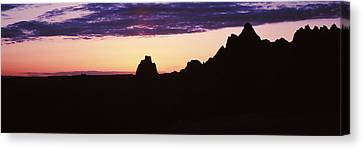 Silhouette Of Mountains At Dusk Canvas Print