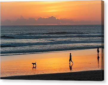 Silhouette Of People And Dog Walking Canvas Print