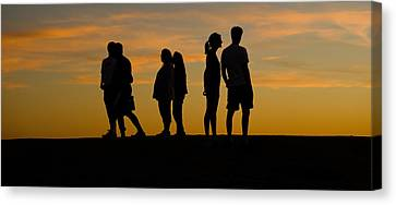 Silhouette Of People On A Hill, Baldwin Canvas Print by Panoramic Images