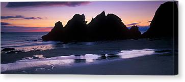 Silhouette Of Rocks On The Beach, Erme Canvas Print by Panoramic Images