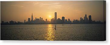 Silhouette Of Skyscrapers Canvas Print by Panoramic Images