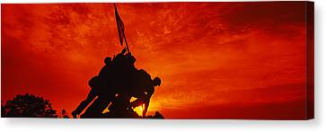 Arlington National Cemetery Canvas Print - Silhouette Of Statues At A War by Panoramic Images