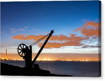 Silhouette Of The Davit In Dublin Port Canvas Print by Semmick Photo