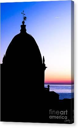 Silhouette Of Vernazza Duomo Dome Canvas Print