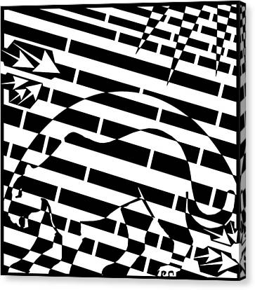 Silhouette Panther Moon Maze  Canvas Print by Yonatan Frimer Maze Artist