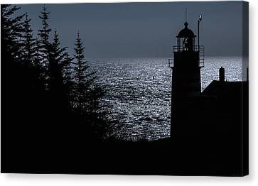 Silhouette West Quoddy Head Lighthouse Canvas Print