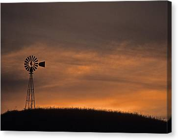 Silhouette Windmill Canvas Print
