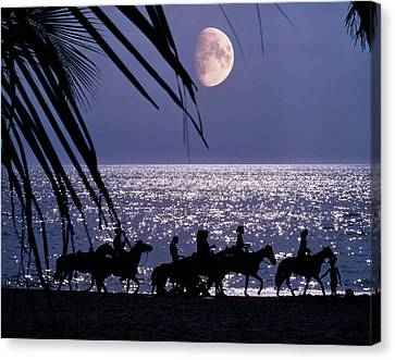 Silver Moonlight Canvas Print - Silhouetted Anonymous Horseback Riders by Vintage Images