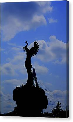 Silhouetted Keeper Of The Plains Canvas Print