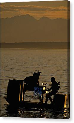 Silhouetted Sea Monster Playing Piano.tif Canvas Print by Jim Corwin
