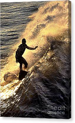 Silhouetted Surfer Canvas Print