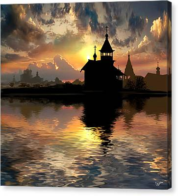 Silhouettes Of The Christianity Canvas Print by Igor Zenin