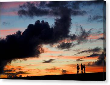 Silhouettes Of Three Girls Walking In The Sunset Canvas Print by Fabrizio Troiani