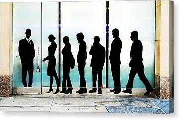 Silhouettes On Broadway Canvas Print by Allen Beatty