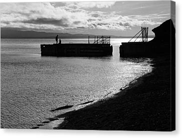 Silhouettes On Broken Pier Canvas Print by Arkady Kunysz