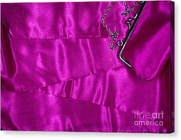Canvas Print featuring the photograph Silk Background With Purse by Gunter Nezhoda