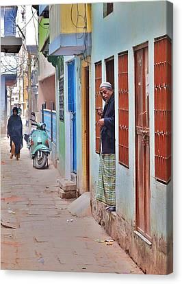 Morning In The Silk District - Varanasi India Canvas Print by Kim Bemis