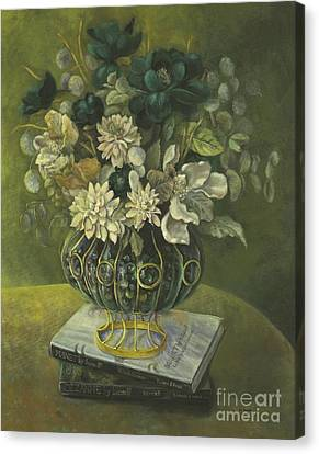 Canvas Print featuring the painting Silk Floral Arrangement by Marlene Book
