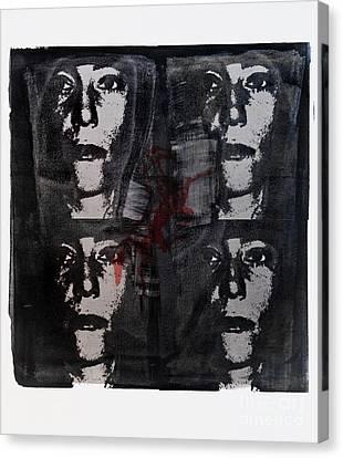 Silkscreen Patti Smith In Silver With Red Horse Canvas Print by Geri Harkin-Tuckett