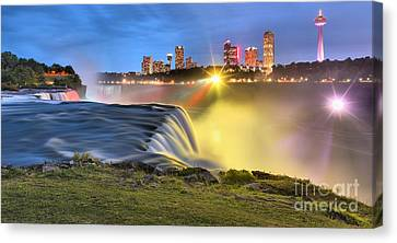 Silky Niagara Falls Panoramic Sunset Canvas Print by Adam Jewell