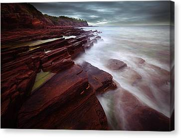 Silky Wave And Ancient Rock 3 Canvas Print