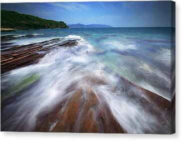 Canvas Print featuring the photograph Silky Wave And Ancient Rock 5 by Afrison Ma