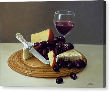 Sill Life Cheese Board Canvas Print by John Silver