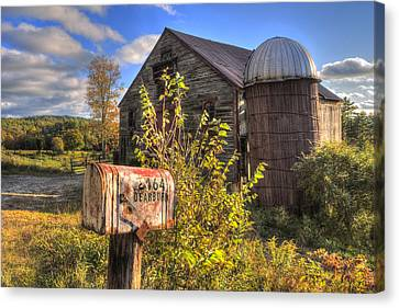 Silo And Barn In Autumn Canvas Print