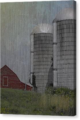Silo And Barn Canvas Print