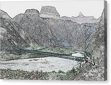 Silver And Black Bridges Over Colorado River Bottom Grand Canyon National Park Colored Pencil Canvas Print by Shawn O'Brien