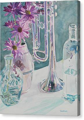 Jazzy Canvas Print - Silver And Glass Music by Jenny Armitage