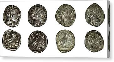 Silver Athena Coins Canvas Print
