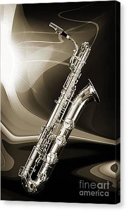 Silver Baritone Saxophone Photograph In Sepia 3459.01 Canvas Print
