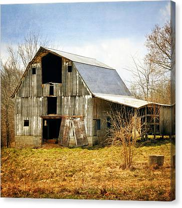Silver Barn Square Canvas Print by Marty Koch