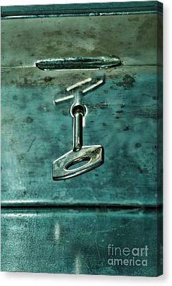 Silver Box With Key In The Lock Canvas Print by HD Connelly